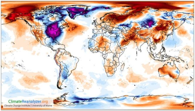 A map showing extreme cold areas across the world. Thanks Mother Nature.
